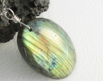Real Labradorite Necklace, Fiery Yellow & Blue Stone Jewellery, Large Natural Pendant