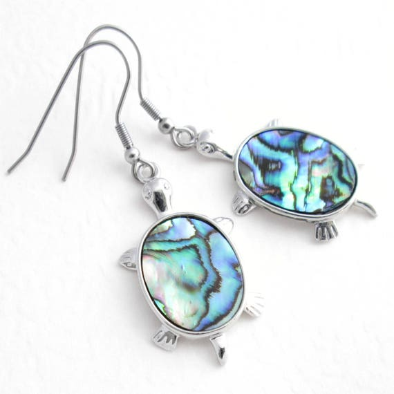 Sea Turtle Abalone Shell Pendant Necklace /& Earring Set with 21 Inches Chain