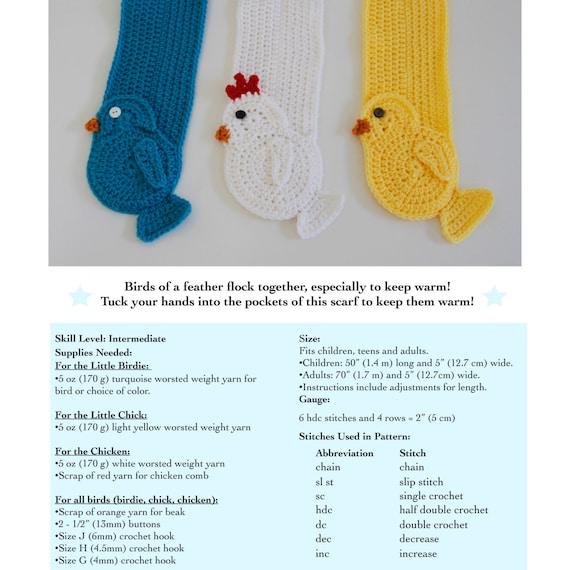 Little Chicks Pocket Scarf Crochet Pattern PDF   Etsy