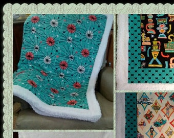 WARM SOFT Custom-Made Throw blanket U pick fabric & size White Faux Sherpa turquoise atomic Diner retro mid-century 50s waitress Neon sign