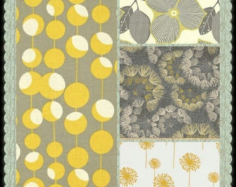 CUSTOM-Made Valances Panels Tiers Swags ~You Choose Size ~ Lined or Unlined ~ Rod pocket or grommets - yellow gray retro geometric Floral