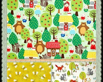 CUSTOM-Made Valances Panels Tiers Swags ~You Choose Size ~ Lined or Unlined ~ Rod pocket or grommets - nursery rhyme 3 Bears bees green