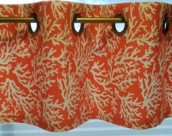 CUSTOM-Made Valances Panels Tiers ~You Choose Size and Fabric ~ Lined or Unlined (blackout avail) grommets - Beachy turquoise Coral starfish