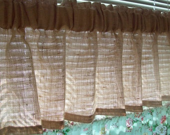 """72""""x 16"""" NATURAL (or Color choice) Custom BURLAP Valances with 3""""Rod Pocket Fits Window 38""""- 48"""" WIDE Country Farmhouse Curtains"""