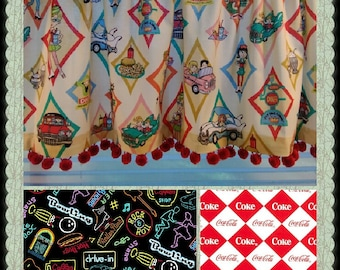 CUSTOM-Made Valances Panels Tiers Swags ~You Choose Size ~ Lined or Unlined ~ Rod pocket or grommets - Diner retro vintage cars Coca-Cola