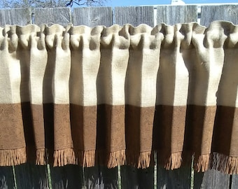 """FAUX Leather & Natural  Burlap LINED Valance or Panel -- 48"""" W x (12""""-- 84"""" drop) -- Fits Window 28""""- 35"""" wide -- Western Country farmhouse"""