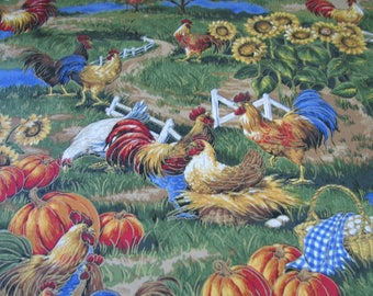 CUSTOM-Made Valances,Panels,Tiers. ~You Choose Size ~ Lined or Unlined ~ Rod pocket or grommets -chickens country pumpkins farmhouse