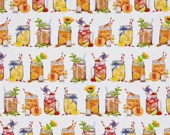 CUSTOM-Made Valances,  Panels, Tiers, Swags~You Choose Size ~ Lined or Unlined ~ Rod Pocket  ~ iced tea mason jars fruit drinks on white