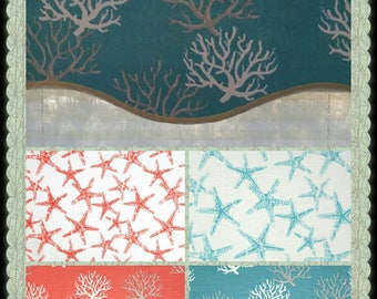 """SCALLOPED VALANCE ~ 12"""", 14"""", or 16"""" Lined or Unlined - 52"""" Wide ~ wavy scalloped Turquoise Beachy Coral starfish Gray"""