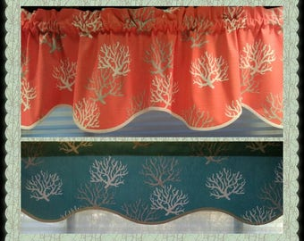 """SCALLOPED VALANCE ~ 12"""", 14"""", or 16"""" Lined or Unlined - 52"""" Wide ~ wavy scalloped Turquoise Beachy Coral Gray"""
