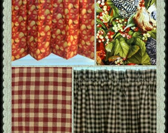 CUSTOM-Made Valances Panels Tiers Swags ~You Choose Size ~ Lined or Unlined ~ Rod pocket or grommets - red black apples Farm country