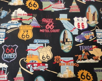 Custom-Made Valances,  Panels, Tiers. ~You Choose Size ~ Lined or Unlined ~ Route 66 Travel Vintage Cars Road signs Oklahoma Texas Man Cave