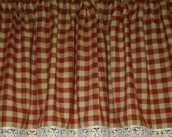 """Custom Valances, Tiers, Panels (With LACE Trim) Up to 84"""" ~You Choose Size ~ Lined or Unlined ~ Primitive Red & Tan Homespun Check Farmhouse"""