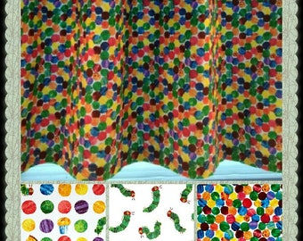 CUSTOM-Made Valances Panels Tiers ~You Choose Size and Fabric ~ Lined or Unlined (blackout avail) grommets - Hungry Caterpillar child's room