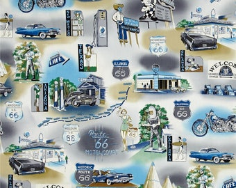 CUSTOM-Made Valances,Panels,Tiers. ~You Choose Size ~ Lined or Unlined ~ Rod pocket or grommets - vintage style Route 66 cars blue off-white