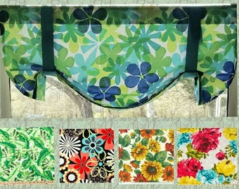 """Custom-made TIE UP Valance - you choose size - 29"""" - 41"""" Wide  Floral Earth Tones Yellow Green Turquoise Pink Mod Tropical"""