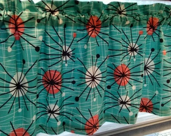 CUSTOM-Made Valances,Panels,Tiers. ~You Choose Size ~ Lined or Unlined ~ Rod pocket or grommets - Atomic Retro Turquoise Orange Black