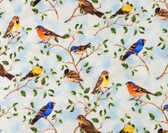 CUSTOM-Made Valances,  Panels, Tiers. ~You Choose Size ~ Lined or Unlined ~ Rod Pocket  ~ colorful birds Blue Sky Cottage  Chic country