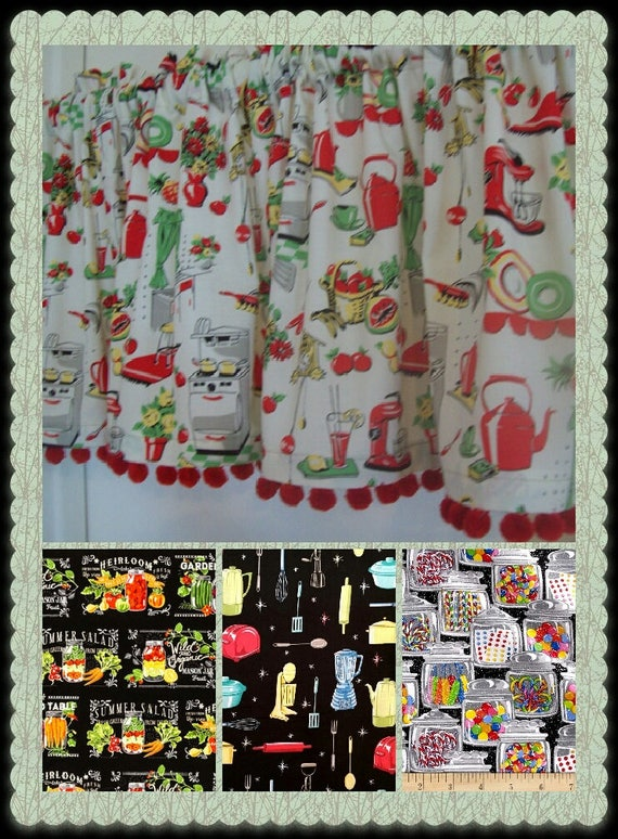 Retro Kitchen with Red Pom Poms Curtain Valance