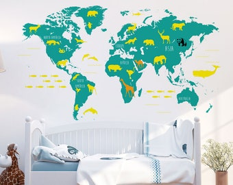 World Map with Animals Wall Decal