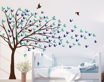 Butterflies Blowing Tree Wall Decal