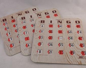 Faux wood Slide Bingo cards (3) and Bonus, cardboard Bingo cards,Fingertip bingo cards,Collage Art,Craft Supply
