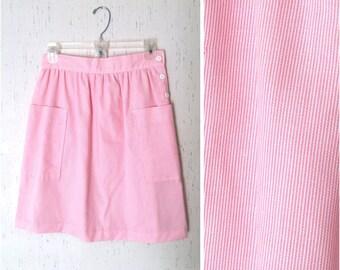 Vintage High Waist Pink Striped Skirt