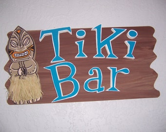 Tropical Rustic Tiki Bar Wood Sign