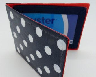 Oyster card holder, bus pass holder, travel card holder. Vinyl coated navy spot print. Card wallet, Oyster card wallet, card holder.