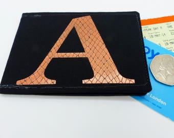 Personalised Oyster card holder, bus pass holder, travel card holder, wallet. Monogrammed wallet. Copper foil initial. Credit Card holder