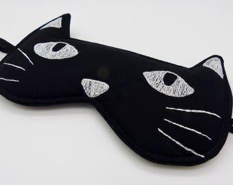 Sleep mask , eye mask. Cat sleep mask. Embroidery eye mask, cat mask, travel mask in black with white embroidery.