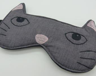 Sleep mask , eye mask. Cat sleep mask. Embroidery eye mask, cat mask, travel mask in grey with black and pink embroidery.