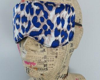 Sleep mask in navy satin animal print. Luxury animal print satin eye mask.Travel mask. Sleep mask.