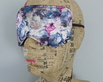 Sleep mask in abstract floral satin print. Luxury floral satin eye mask.Travel mask.