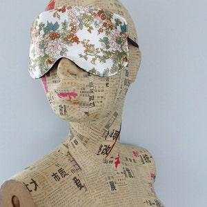 Sleep mask in navy ditsy floral satin print Travel mask. Luxury floral satin eye mask