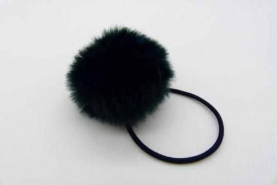 natural grey real genuine rabbit fur elastic hair band bobble tie scrunchies