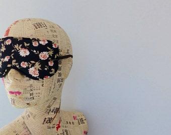 Sleep mask in floral satin print. Luxury floral satin eye mask.