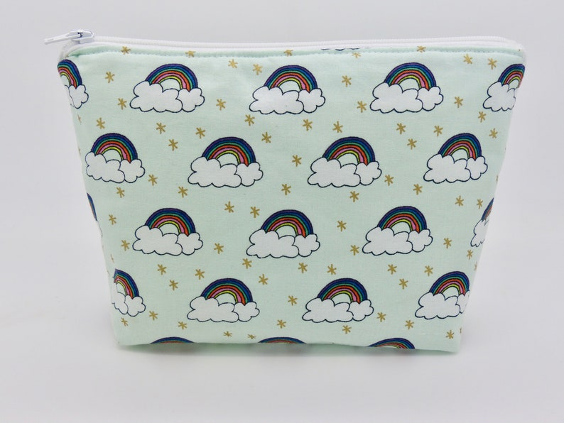 c26aa4d3ae18 Make-up bag, wash bag, zip purse, cosmetic bag. Rainbow print - lined zip  bag, pencil case, zip pouch, toiletry bag.