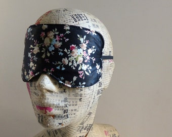 Sleep mask in ditsy floral satin print. Luxury floral satin eye mask.