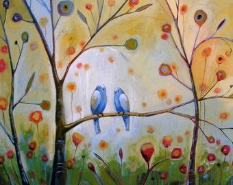 Birds art print ... Hidden In Love -- 8 x 10 Glossy Print, from my original painting