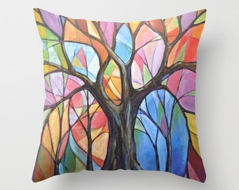 """Decorative throw pillow cover ... from my original abstract landscape painting, """"Colors of the Wind"""" ... 16"""" x 16"""", Ready to ship"""