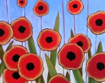 Floral flowers art print ... Poppy Field -- 8 x 10 giclee of my original painting