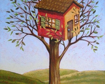 Art print of an original painting... Treehouse -- 8 x 10 Glossy Print