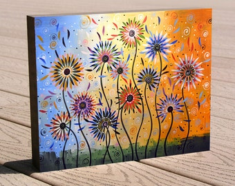 """Colorful floral art print ...8 x 10 giclee print mounted on a deep birch panel...""""Explosion of Joy"""" Great Christmas or birthday gift"""