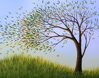 Landscape trees whimsical art print / Blown Away - 8 x 10 Glossy Print, from an original painting by Amy Giacomelli / frameable art gift