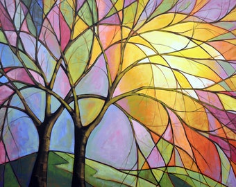 Stained Glass Sunset /  8 x 10 Glossy Giclee Print wall art -- from my original painting by Amy Giacomelli, frameable art gift decor