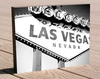 "Las Vegas sign art photo print ...8 x 10 mounted to a deep birch panel...""Las Vegas"", Welcome to Fabulous Las Vegas / Great gift idea"