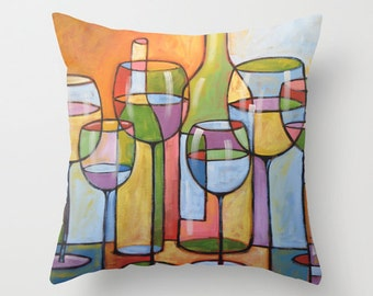 """Decorative throw pillow cover wine glass bottle art ... from my original wine art, """"Time To Relax""""...16"""" x 16"""", Christmas birthday gift"""