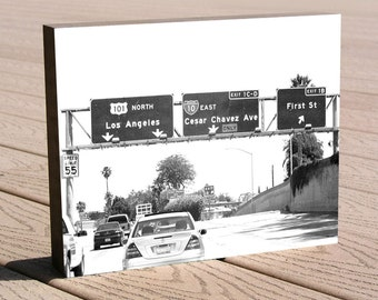 """Los Angeles freeway art photo print ...8 x 10 print mounted to a deep birch panel...""""Cesar Chavez Ave."""" Great Christmas or birthday gift"""