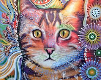 "Cat art print ... Abstract cat Art ... Olivia, 8 1/2"" x 11"" Print of my original cat painting"